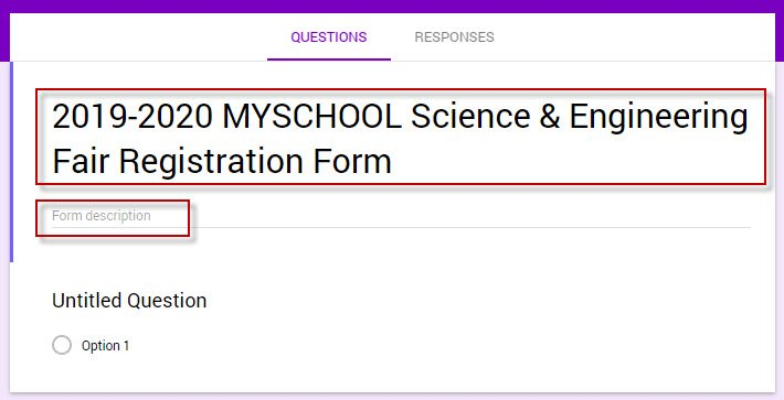 Google Forms title & description