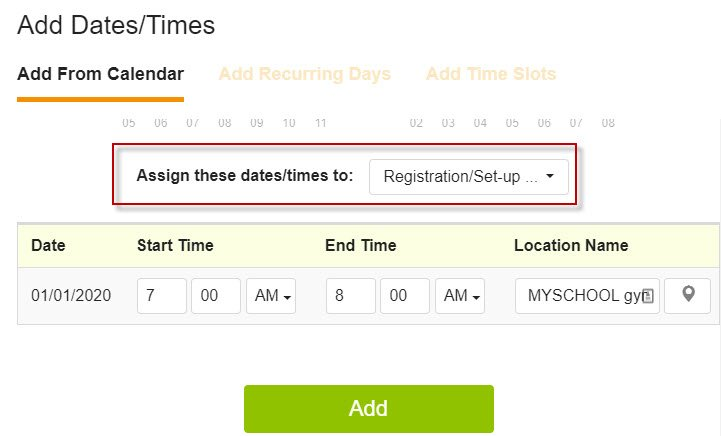 SignUpGenius add dates